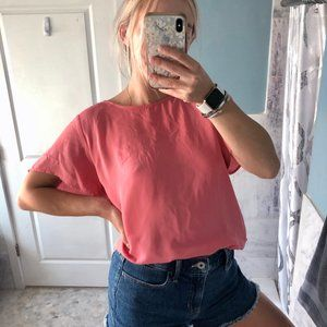 The Limited Short Sleeve Boat Neck Pink Blouse L